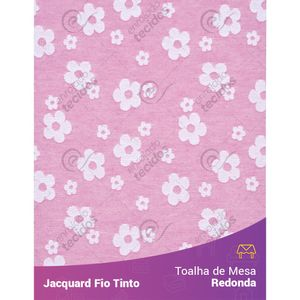 Toalha-Redonda-em-Tecido-Jacquard-Florzinha-Baby-Rosa-Bebe-e-Branco-Fio-Tinto