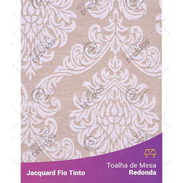 Toalha-Redonda-em-Tecido-Jacquard-Bege-e-Branco-Medalhao-Fio-Tinto