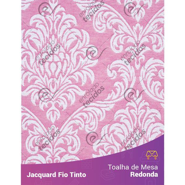 Toalha-Redonda-em-Tecido-Jacquard-Rosa-Bebe-e-Branco-Medalhao-Fio-Tinto