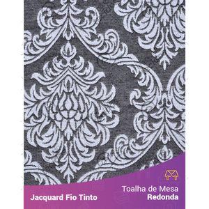 Toalha-Redonda-em-Tecido-Jacquard-Preto-e-Branco-Medalhao-Fio-Tinto