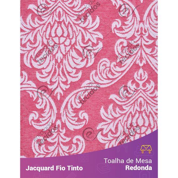 Toalha-Redonda-em-Tecido-Jacquard-Vermelho-e-Branco-Medalhao-Fio-Tinto
