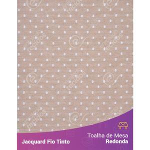 Toalha-Redonda-em-Tecido-Jacquard-Bege-e-Branco-Poa-Fio-Tinto