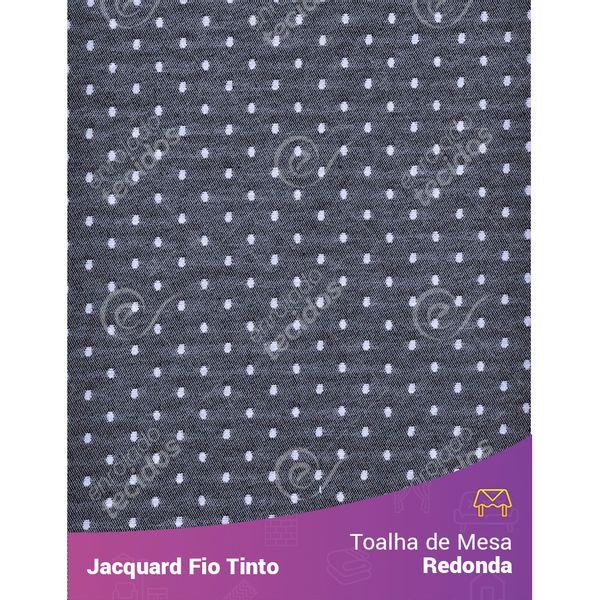 Toalha-Redonda-em-Tecido-Jacquard-Preto-e-Branco-Poa-Fio-Tinto