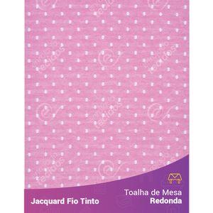 Toalha-Redonda-em-Tecido-Jacquard-Rosa-Bebe-e-Branco-Poa-Fio-Tinto