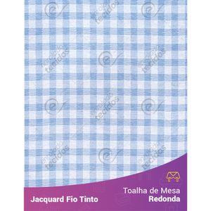 Toalha-Redonda-em-Tecido-Jacquard-Azul-Bebe-e-Branco-Xadrez-Fio-Tinto
