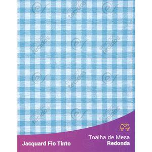 Toalha-Redonda-em-Tecido-Jacquard-Azul-Turquesa-e-Branco-Xadrez-Fio-Tinto
