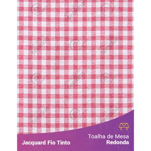 Toalha-Redonda-em-Tecido-Jacquard-Vermelho-e-Branco-Xadrez-Fio-Tinto