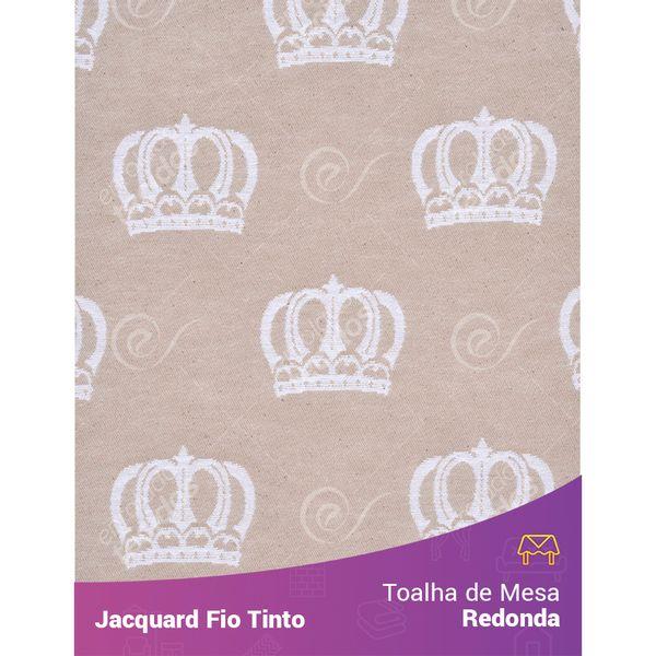 Toalha-Redonda-em-Tecido-Jacquard-Bege-e-Branco-Coroa-Fio-Tinto