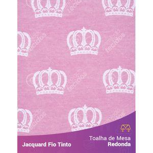 Toalha-Redonda-em-Tecido-Jacquard-Rosa-Bebe-e-Branco-Coroa-Fio-Tinto