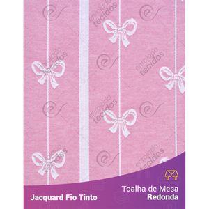 Toalha-Redonda-em-Tecido-Jacquard-Rosa-Bebe-e-Branco-Lacinho-Fio-Tinto