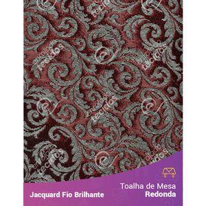 Toalha-Redonda-em-Tecido-Jacquard-Fio-Brilhante-Vermelho-Arabesco