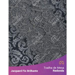 Toalha-Redonda-em-Tecido-Jacquard-Fio-Brilhante-Cinza-Arabesco