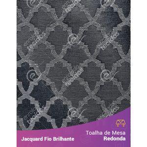 Toalha-Redonda-em-Tecido-Jacquard-Fio-Brilhante-Cinza-Geometrico