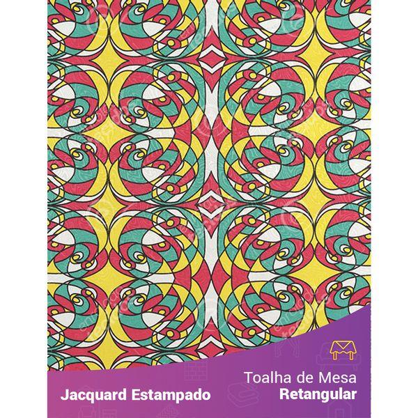 Toalha-de-Mesa-Retangular-em-Tecido-Jacquard-Estampado-Abstrato-Amarelo