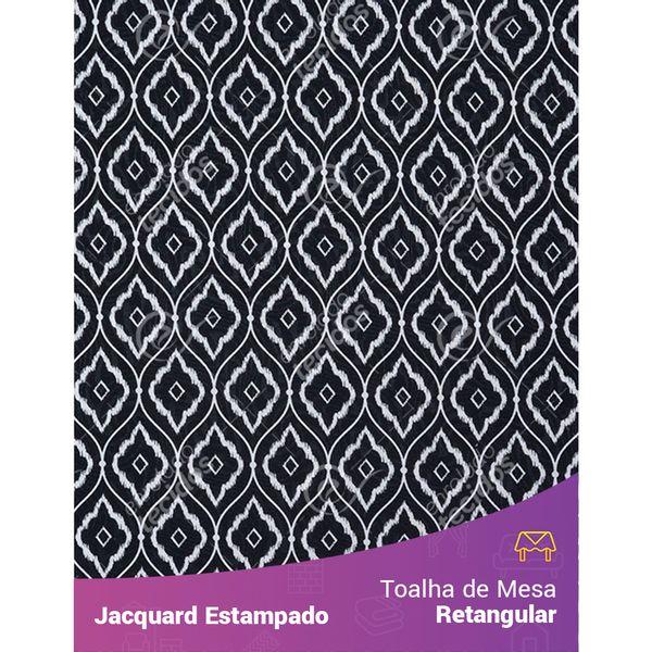 Toalha-de-Mesa-Retangular-em-Tecido-Jacquard-Estampado-Arabesco-Preto