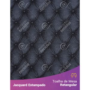 Toalha-de-Mesa-Retangular-em-Tecido-Jacquard-Estampado-Capitone-Cinza-Escuro