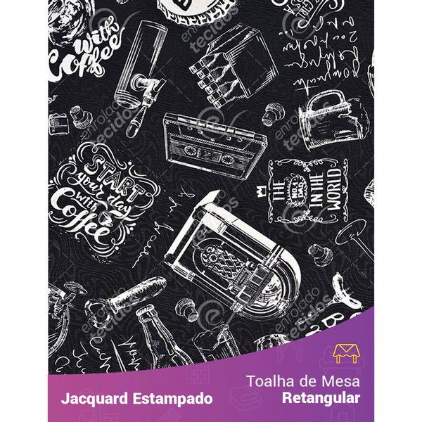 Toalha-de-Mesa-Retangular-em-Tecido-Jacquard-Estampado-Vintage-Preto