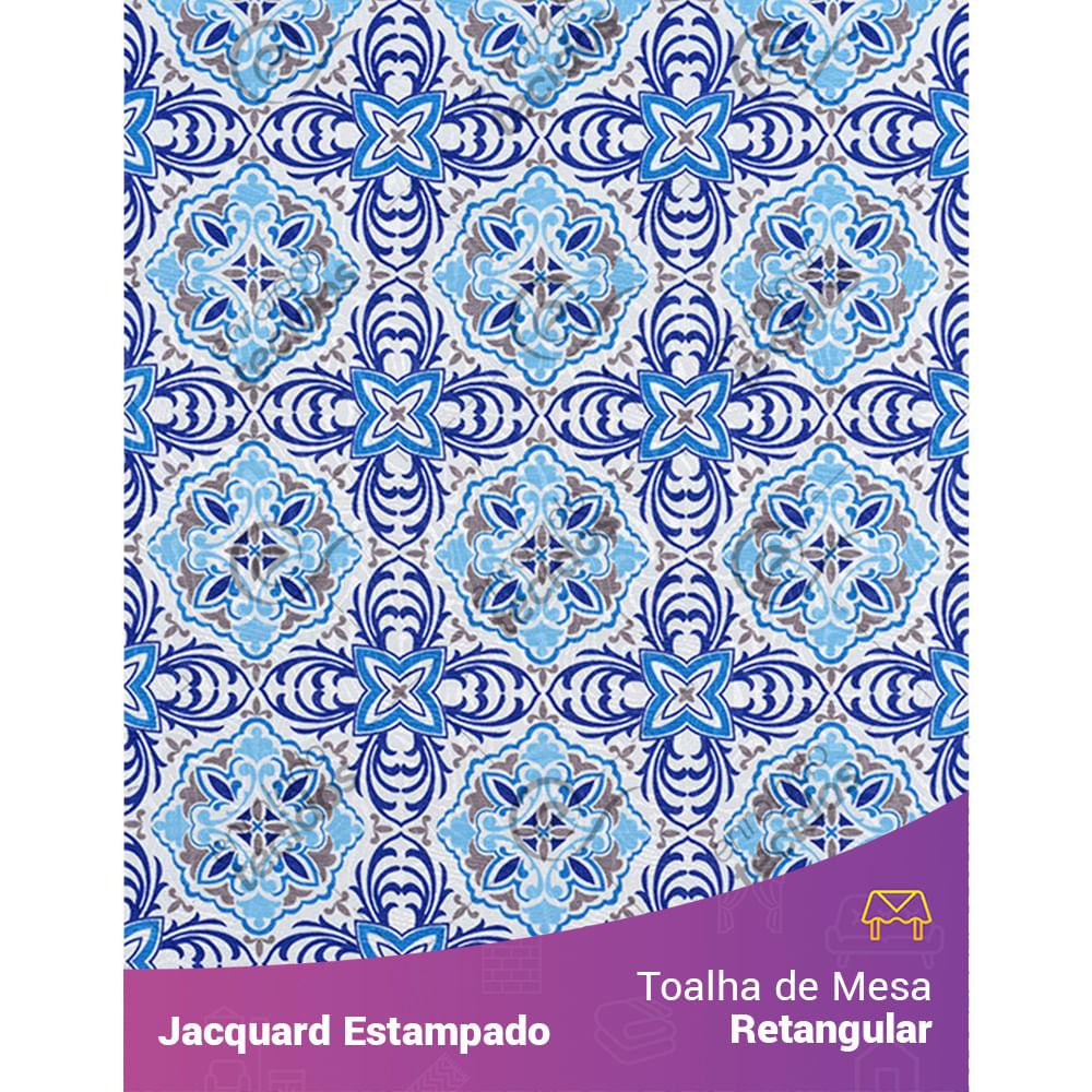 445979ecb Toalha de Mesa Retangular em Tecido Jacquard Estampado Azulejo Português  Azul