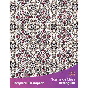 Toalha-de-Mesa-Retangular-em-Tecido-Jacquard-Estampado-Azulejo-Portugues-Marsala