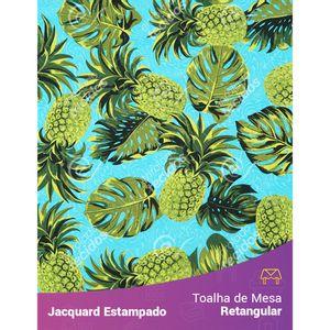 Toalha-de-Mesa-Retangular-em-Tecido-Jacquard-Estampado-Abacaxi-Azul-Turquesa