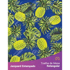 Toalha-de-Mesa-Retangular-em-Tecido-Jacquard-Estampado-Abacaxi-Azul