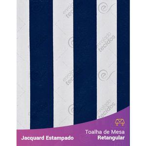 Toalha-de-Mesa-Retangular-em-Tecido-Jacquard-Estampado-Listrado-Azul-Marinho-e-Branco