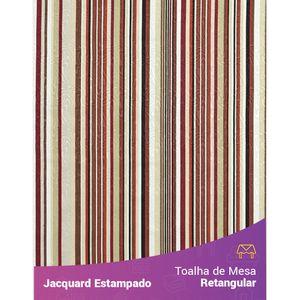 Toalha-de-Mesa-Retangular-em-Tecido-Jacquard-Estampado-Listrado-Bege-e-Marsala