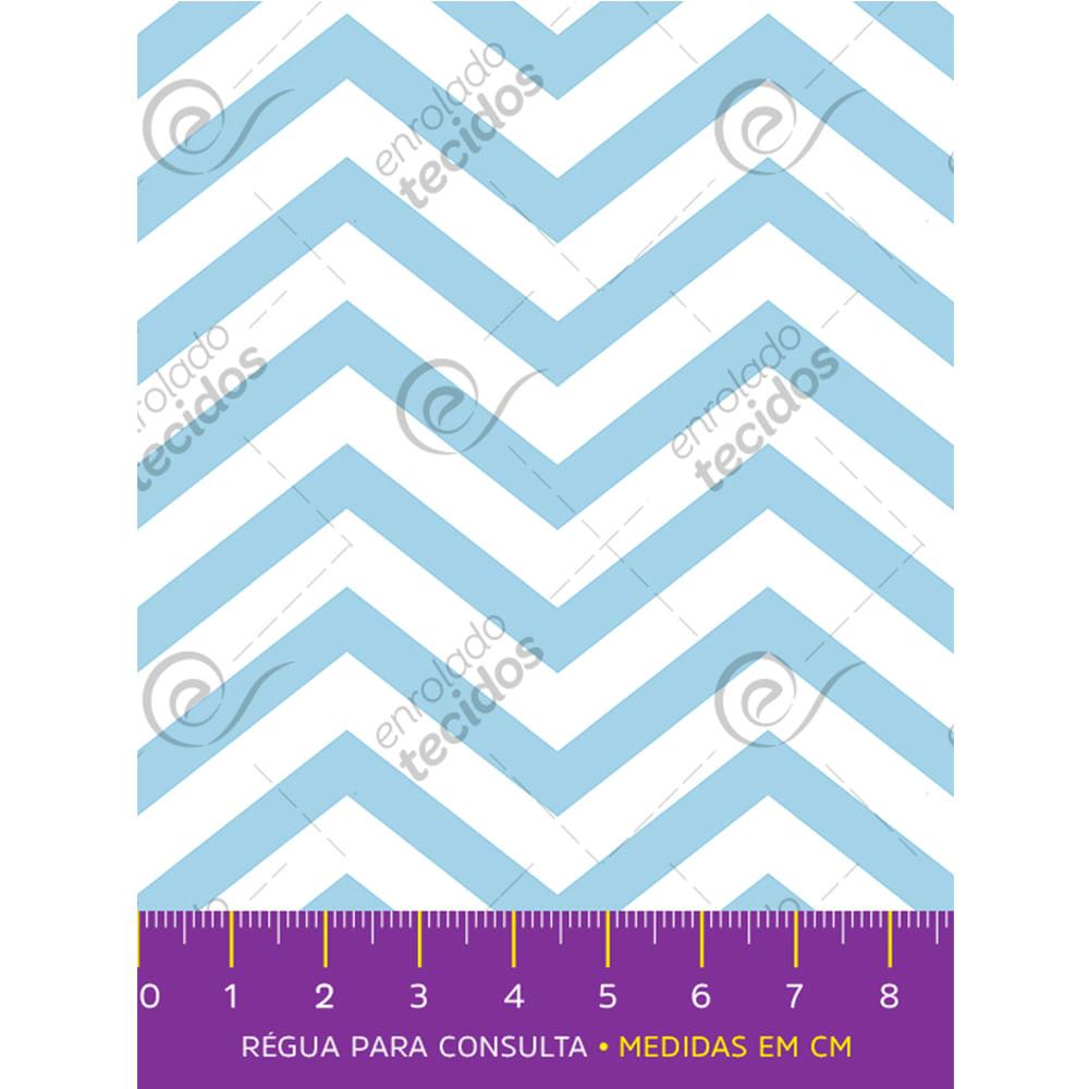 b14677f40a Tecido Tricoline Estampado Chevron Azul Bebê e Branco - 1,50m de Largura