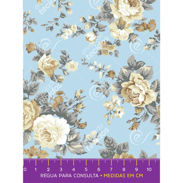 tecido-tricoline-floral-bege-fundo-azul-bebe