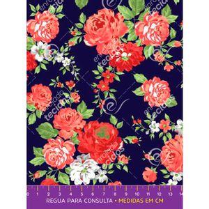 tecido-tricoline-floral-rosa-fundo-azul-marinho