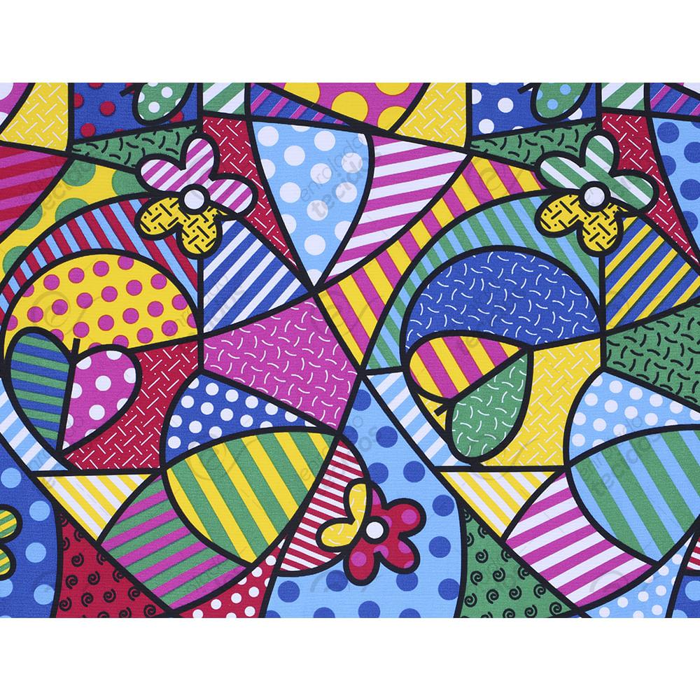 Tecido Jacquard Estampado Pop Art Desenho Sentido Largura 2