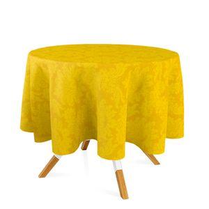 toalha-redonda-tecido-jacquard-amarelo-ouro-medalhao-tradicional