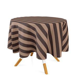 toalha-redonda-tecido-jacquard-marrom-e-bege-listrado-tradicional