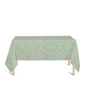 toalha-retangular-tecido-jacquard-dourado-e-turquesa-medalhao-tradicional