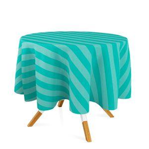 Toalha-de-Mesa-Redonda-em-Tecido-Jacquard-Azul-Tiffany-Listrado-Tradicional