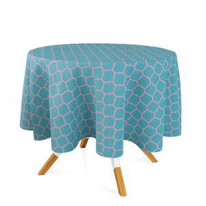 toalha-redonda-tecido-jacquard-azul-tiffany-e-rosa-geometrico-tradicional