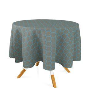 toalha-redonda-tecido-jacquard-azul-e-dourado-geometrico-tradicional