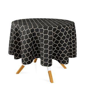 toalha-redonda-tecido-jacquard-preto-e-cru-geometrico-tradicional