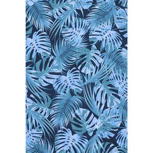 tecido-jacquard-estampado-tropical-folhagem-azul