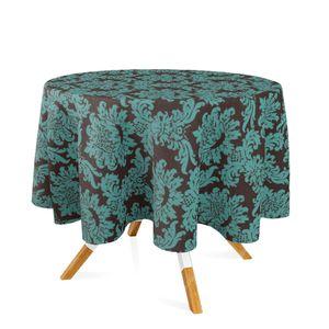 toalha-redonda-tecido-jacquard-marrom-e-turquesa-medalhao-tradicional-280